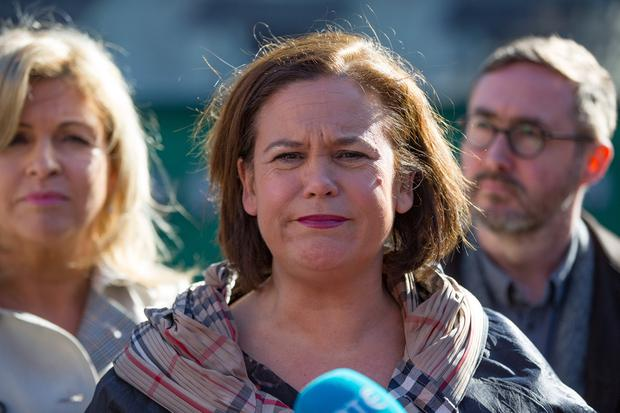 Sinn Fein president Mary Lou McDonald was criticised after being pictured behind an anti-England banner at New York's St Patrick's Day parade last week. The parade banner had already been attacked as 'sectarian' in 2016. Photo: Mark Condren