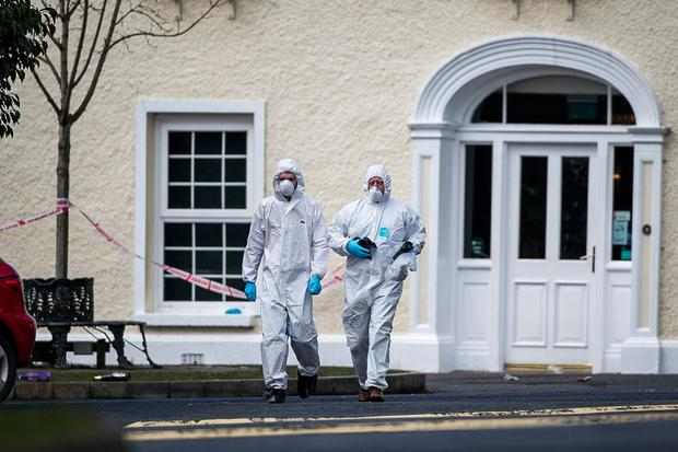 PSNI forensic officers at The Greenvale Hotel in Cookstown last week. Photo: PA