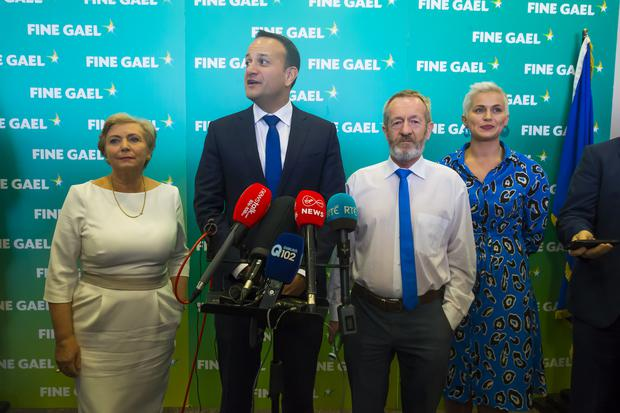Fine Gael National Conference in Wexford. ictured is An Taoiseach Leo Varadkar with European Parliament election candidates: Dublin: Frances Fitzgerald, South: Sean Kelly, Midlands/ North-West: Maria Walsh.. Picture: Patrick Browne