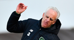Mick McCarthy vents his frustration during yesterday's victory in Gibraltar. Photo: Seb Daly/Sportsfile