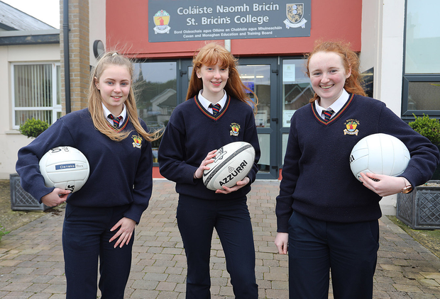 Tara Hegarty, Nadine O'Brien and Aisling Flood from St Bricin's College, winners of this year's PE Xpo for their project on the perception of female body image in sport. Photo: Lorraine Teevan