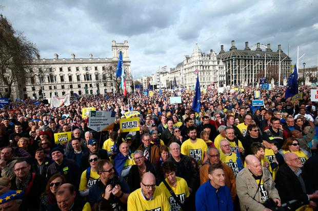 Thousands of the one million people who marched gathered to listen to speakers at a rally organised by the pro-European People's Vote campaign for a second EU referendum in Parliament Square, central London where guest speakers included Michael Heseltine and Steve Coogan. Photo: PA