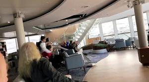 Passengers protect themselves from a collapsing ceiling at the cruise ship Viking Sky while listed, after an engine failure