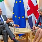 Leo Varadkar and Theresa May during a bilateral meeting in Brussels (Taoiseach/PA)