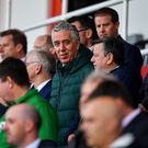 FAI Chief Executive John Delaney and FAI President Donal Conway during the UEFA EURO2020 Qualifier Group D match between Gibraltar and Republic of Ireland at Victoria Stadium in Gibraltar. Photo by Seb Daly/Sportsfile