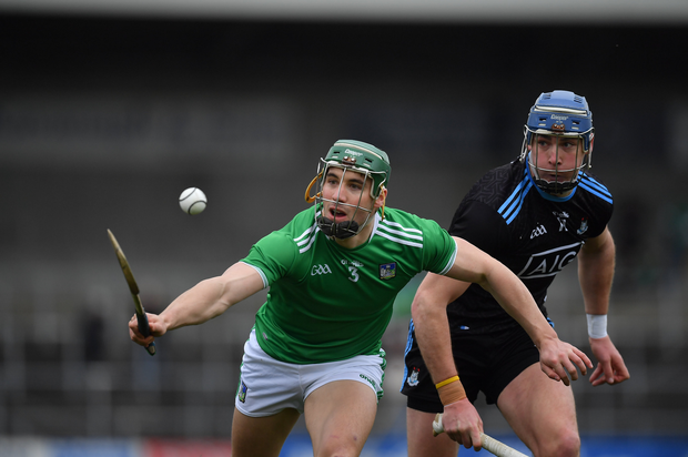 24 March 2019; Seán Finn of Limerick against John Hetherton of Dublin during the Allianz Hurling League Division 1 Semi-Final match between Limerick and Dublin at Nowlan Park in Kilkenny. Photo by Brendan Moran/Sportsfile