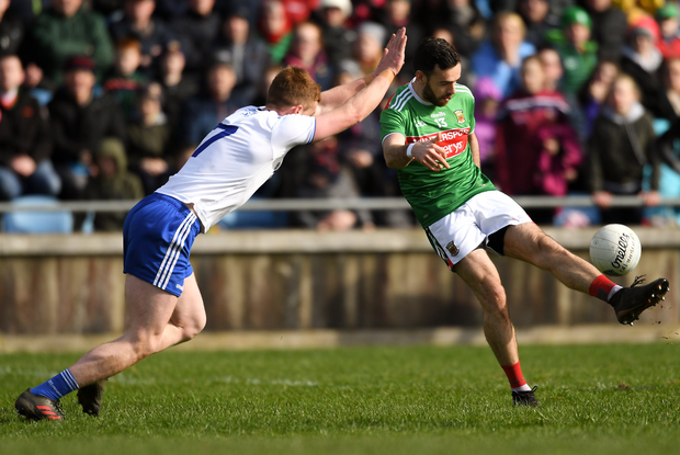 Kevin McLoughlin of Mayo in action against Kieran Duffy of Monaghan during the Allianz Football League Division 1 Round 7 match between Mayo and Monaghan at Elverys MacHale Park in Castlebar, Mayo. Photo by Piaras Ó Mídheach/Sportsfile