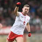Niall Sludden of Tyrone celebrates his side's second goal scored by team-mate Matthew Donnelly during the Allianz Football League Division 1 Round 7 match between Tyrone and Galway at Healy Park in Omagh. Photo by David Fitzgerald/Sportsfile
