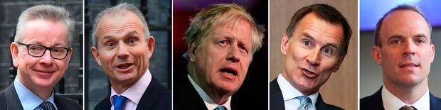 File photos of (from the left) Michael Gove, David Lidington, Boris Johnson, Jeremy Hunt, and Dominic Raab, whose names stand as key contenders as speculation that Theresa May will be moving out of Downing Street sooner than expected has reached fever pitch after another turbulent week in Westminster