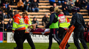 Joe Canning of Galway leaves the pitch on a stretcher during the Allianz Hurling League Division 1 semi-final match between Galway and Waterford at Nowlan Park in Kilkenny. Photo by Brendan Moran/Sportsfile