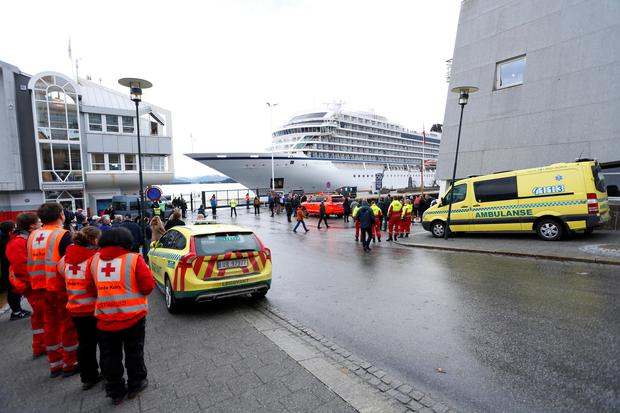 Viking Sky cruise ship arrives, after problems the ship got in the storm outside of Hustadvika, at Molde, Norway