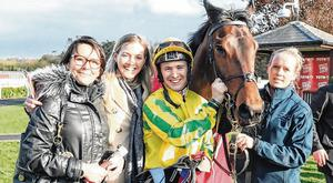 Winner alright: Colin Keane and Karawaan with Lynne and Kerry Lyons and Dolly Sparrow after winning The Tote Irish Lincolnshire. Photo: CarolineNorris.ie