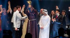 Peter Tabichi, a maths and physics teacher from Kenya, is awarded the Varkey Foundation Global Teacher Prize at a ceremony in Dubai hosted by Hollywood star Hugh Jackman. Photo: Varkey Foundation/PA Wire