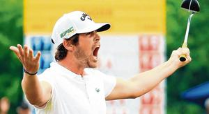 Nacho Elvira celebrates after securing a play-off at the Maybank Championship. Photo: Andrew Redington/Getty Images