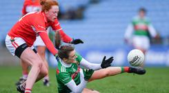 Mayo's Clodagh McManamon of Mayo in action against Niamh Cotter of Cork. Photo: Piaras Ó Mídheach/Sportsfile
