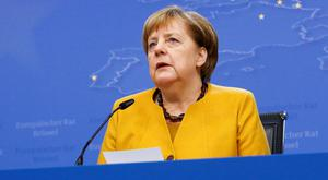 Tough talks: Reports said German Chancellor Angela Merkel highlighted the no-deal threat to the backstop. Photo: REUTERS/Eva Plevier