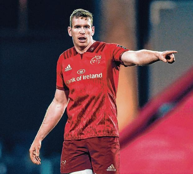 Chris Farrell points the way for Munster during the PRO14 match against Zebre at Thomond Park. Photo: Diarmuid Greene/Sportsfile