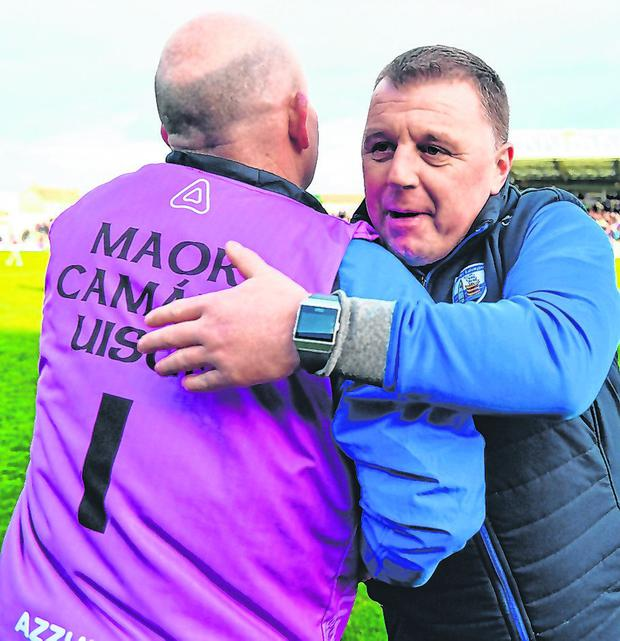 Manager Páraic Fanning (R) celebrates after Waterford booked their place in the Allianz HL Division 1 final. Photo: Brendan Moran/Sportsfile