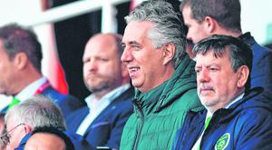 Rock of Ages: Outgoing FAI CEO and new Executive Vice President John Delaney with FAI president Donal Conway (right) at the game against Gibraltar on Saturday. Photo: Seb Daly/Sportsfile