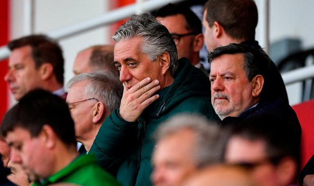 John Delaney and FAI President Donal Conway (right) pictured during Ireland's EURO 2020 qualifier in Gibraltar. Photo: Seb Daly/Sportsfile