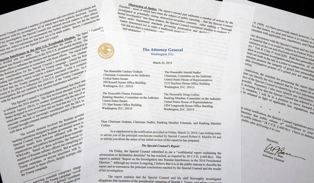 A copy of a letter from Attorney General William Barr advising Congress of the principal conclusions reached by Special Counsel Robert Mueller. AP Photo/Jon Elswick