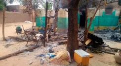 The scene shortly after an attack which left at least 134 people dead and dozens more wounded, which according to witnesses was carried out by the ethnic Dogon militia in Ogossogou village, Mali. AP photo