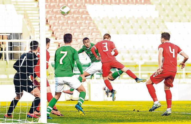 Adam Idah heads home Ireland's first goal in their U-21 European U-21 Championship qualifier Luxembourg in Tallaght Stadium. Photo: Eoin Noonan/Sportsfile