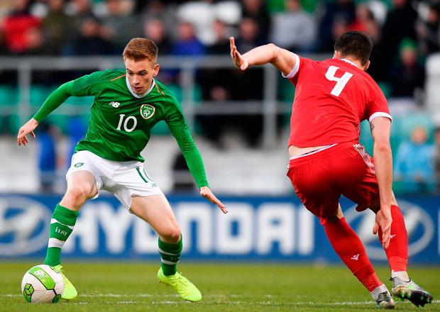 Republic of Ireland's Connor Ronan in action against Luxembourg's Pit Simon. Photo: Eóin Noonan/Sportsfile