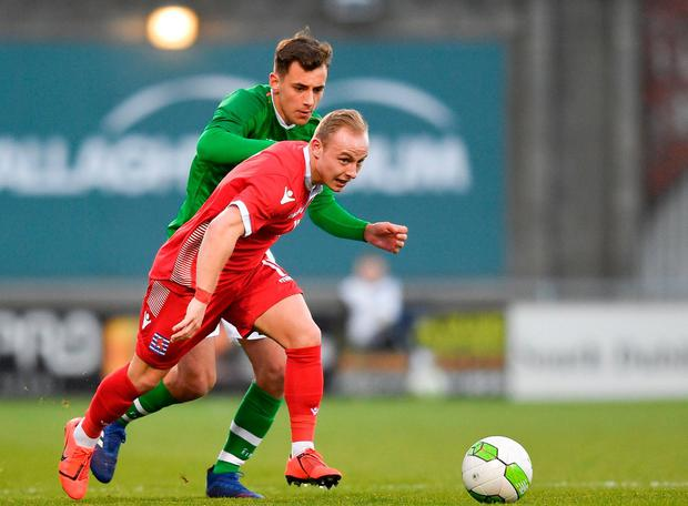 Luxembourg's Kenan Avdusinovic in action against Republic of Ireland's Lee O'Connor. Photo: Eóin Noonan/Sportsfile