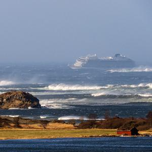 Stormy seas: The Viking Sky drifts off the west coast of Norway. Photo: Odd Roar Lange / NTB scanpix via AP