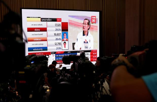 Reporters wait for the general election results in Bangkok, Thailand. REUTERS/Soe Zeya Tun