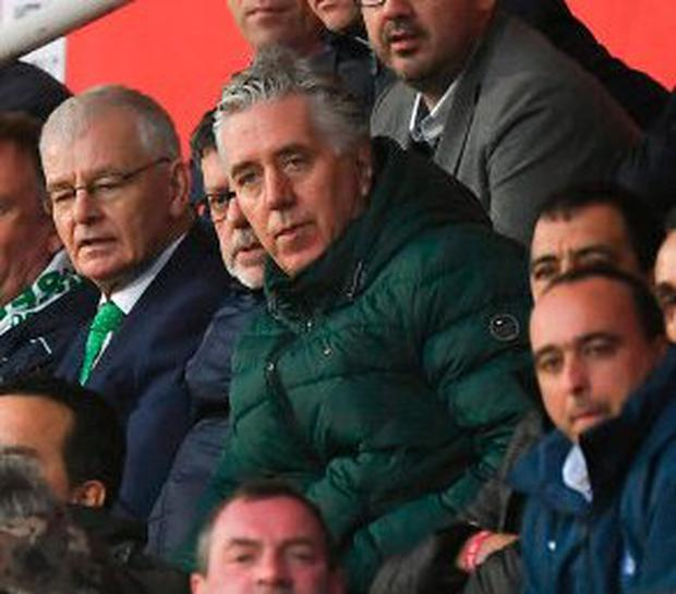 ON THE MOVE: John Delaney, pictured at Ireland's Euro 2020 qualifier in Gibraltar last Saturday where he was shortly after removed from his position as FAI CEO to take up a new Executive Vice-President role. Photo: Seb Daly/Sportsfile