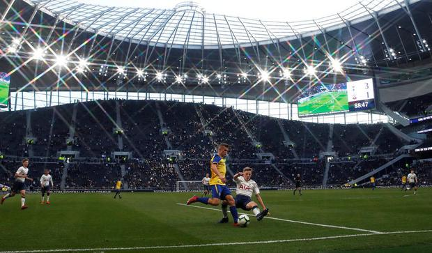 NEW DAWN: Spurs and Southampton U18s in action at Tottenham Hotspur Stadium yesterday. Photo: David Klein/Reuters