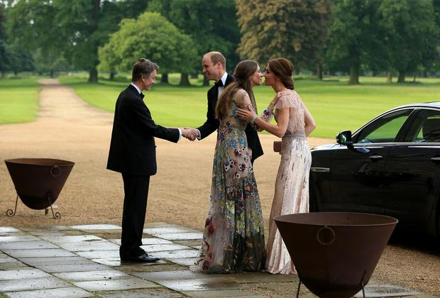 HRH Prince William and Catherine, Duchess of Cambridge are greeted by David Cholmondeley, Marquess of Cholmondeley and Rose Cholmondeley, the Marchioness of Cholmondeley as they attend a gala dinner in support of East Anglia's Children's Hospices' nook appeal at Houghton Hall on June 22, 2016 in King's Lynn, England. (Photo by Stephen Pond/Getty Images)