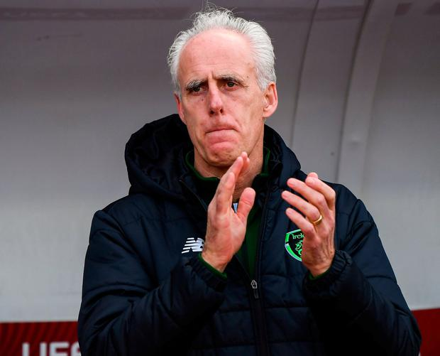 Republic of Ireland manager Mick McCarthy during the UEFA EURO2020 Qualifier Group D match between Gibraltar and Republic of Ireland at Victoria Stadium in Gibraltar. Photo by Stephen McCarthy/Sportsfile