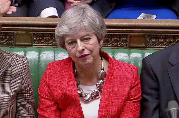 British Prime Minister Theresa May reacts after tellers announced the results of the vote Brexit deal in Parliament in London, Britain, March 12, 2019, in this screen grab taken from video. Reuters TV via REUTERS/File Photo