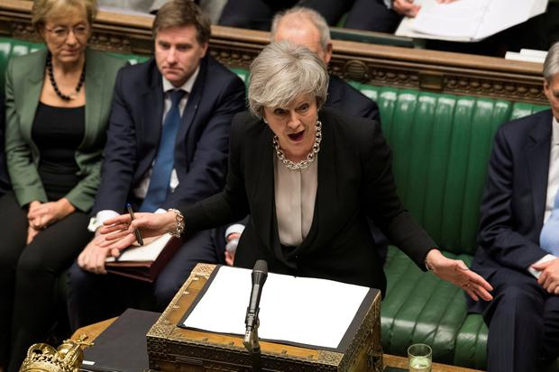 Britain's Prime Minister Theresa May speaks during a debate on her Brexit 'plan B' in Parliament, in London, Britain, January 29, 2019. To match package