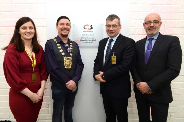 Senator Catherine Ardagh (Senator Fianna Fáil) Councillor Mark Ward (Mayor of South Dublin), Commissioner Drew Harris (Commision An Garda Síochana), Damian Young, Managing Director of G4S Cash Solutions Ireland