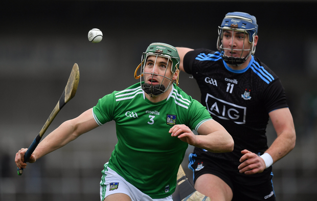 Seán Finn of Limerick against John Hetherton of Dublin during the Allianz Hurling League Division 1 Semi-Final match between Limerick and Dublin at Nowlan Park in Kilkenny. Photo by Brendan Moran/Sportsfile