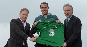 Robert Finnegan, Three Ireland, with John Delaney and John O'Shea in 2013