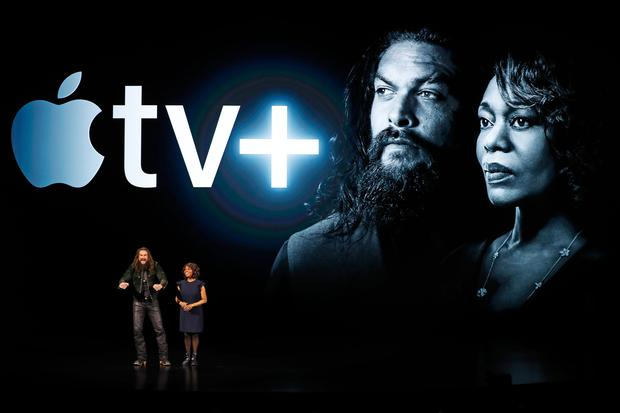 Actors Jason Momoa (L) and Alfre Woodard speak during an Apple special event at the Steve Jobs Theater in Cupertino, California, U.S., March 25, 2019. REUTERS/Stephen Lam