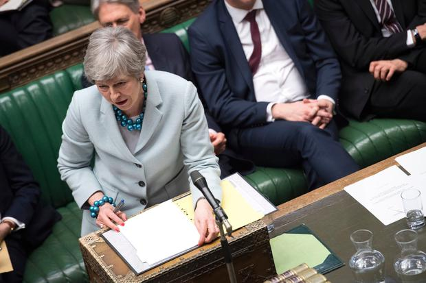 UK Prime Minister Theresa May makes a statement on Brexit to the House of Commons, London. Photo: UK Parliament/Jessica Taylor/PA Wire