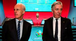 Mick McCarthy and John Delaney, pictured at the tournament's qualifying draw in Dublin in December, have their sights set on Euro 2020. Photo: Stephen McCarthy/UEFA via Sportsfile