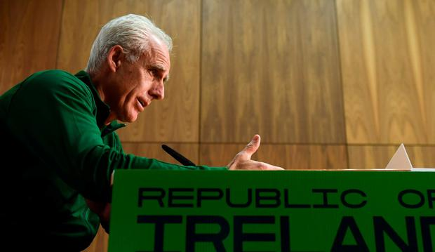 Mick McCarthy attempts to focus on the football during yesterday's press conference. Photo: Stephen McCarthy/Sportsfile