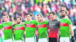 Mayo united: James Horan's men stand for the anthem prior to their last National League game against Monaghan. Photo: Piaras Ó Mídheach/Sportsfile