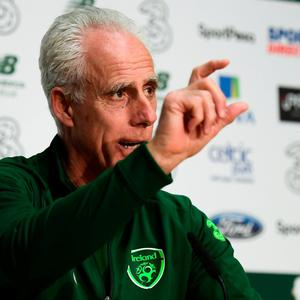 LITTLE DETAILS: Ireland manager Mick McCarthy is pictured ahead of tonight's Euro 2020 qualifier against Georgia at the Aviva Stadium. Photo: Stephen McCarthy/Sportsfile
