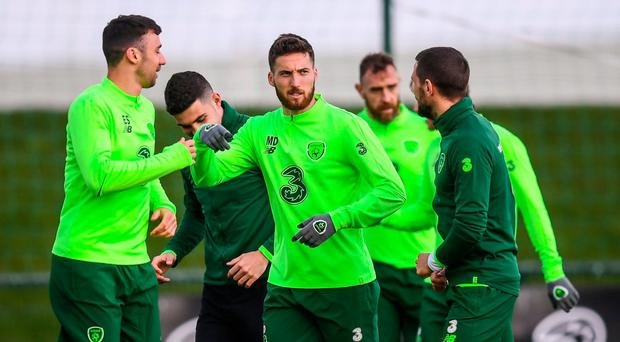 FORMATION PUZZLE: The Republic of Ireland's Enda Stevens (left) Matt Doherty (centre), and Conor Hourihane during training at Abbotstown yesterday. Photo: Stephen McCarthy/Sportsfile
