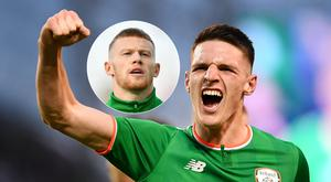 Declan Rice (right) and James McClean (inset).