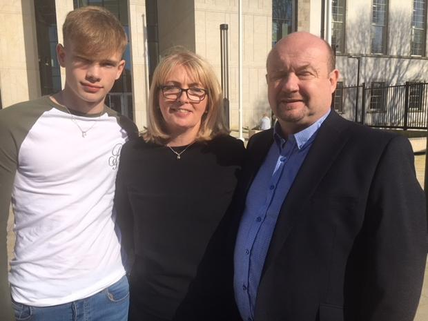 Katie Murphy's parents Vivienne and Hilary (far right) and her brother, Scot, outside Waterford Circuit Criminal Court. Photo: Ralph Riegel