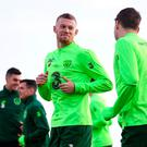 James McClean and Seamus Coleman during Republic of Ireland Squad Training at FAI NTC, Abbotstown, Dublin. Photo by Stephen McCarthy/Sportsfile